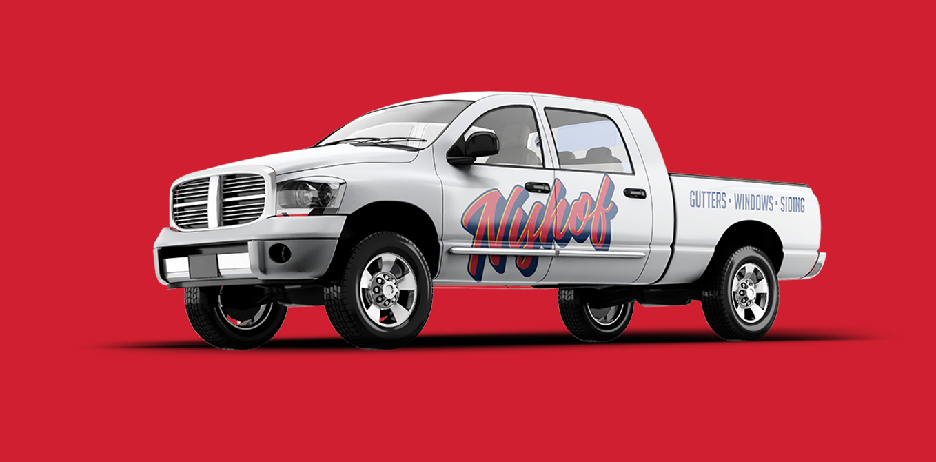 Nyhof Windows and Gutters Branding & Identity truck decal Engaged Marketing